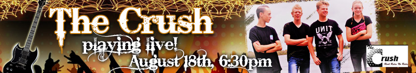 The Crush playing LIVE on August 18 6.30pm!